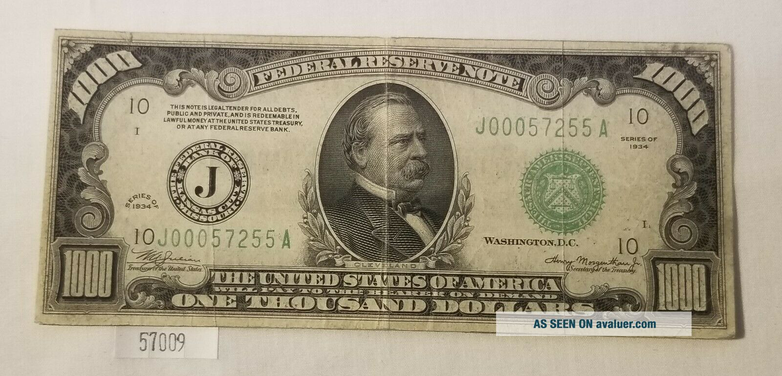 West Point Coins 1934 $1,  000 Federal Reserve Note ' J ' Kansas City FR - 2211 - J
