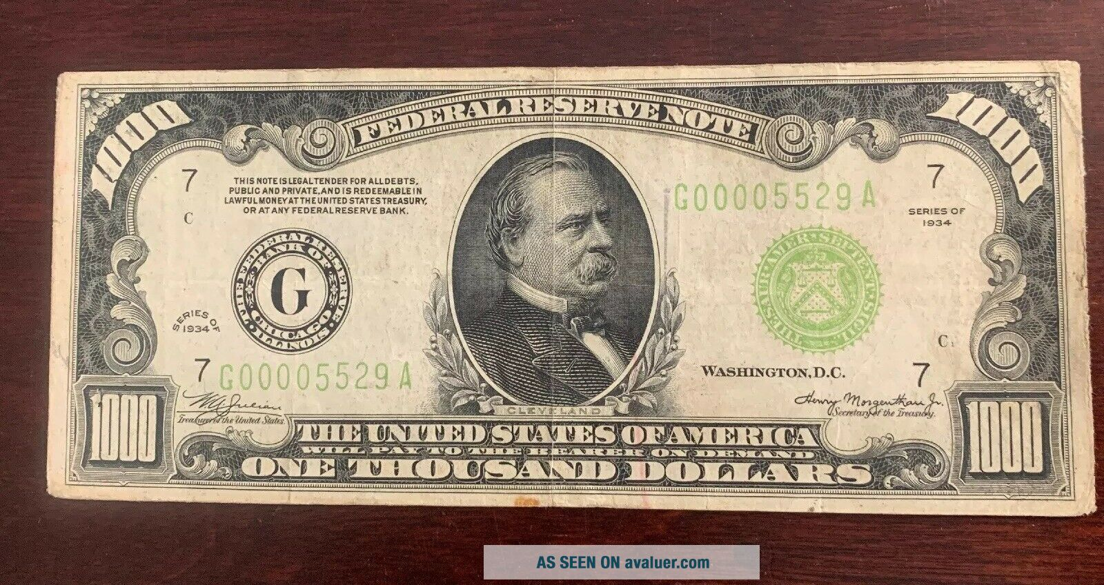 1934 1000 Dollar Note From Federal Bank Of Chicago