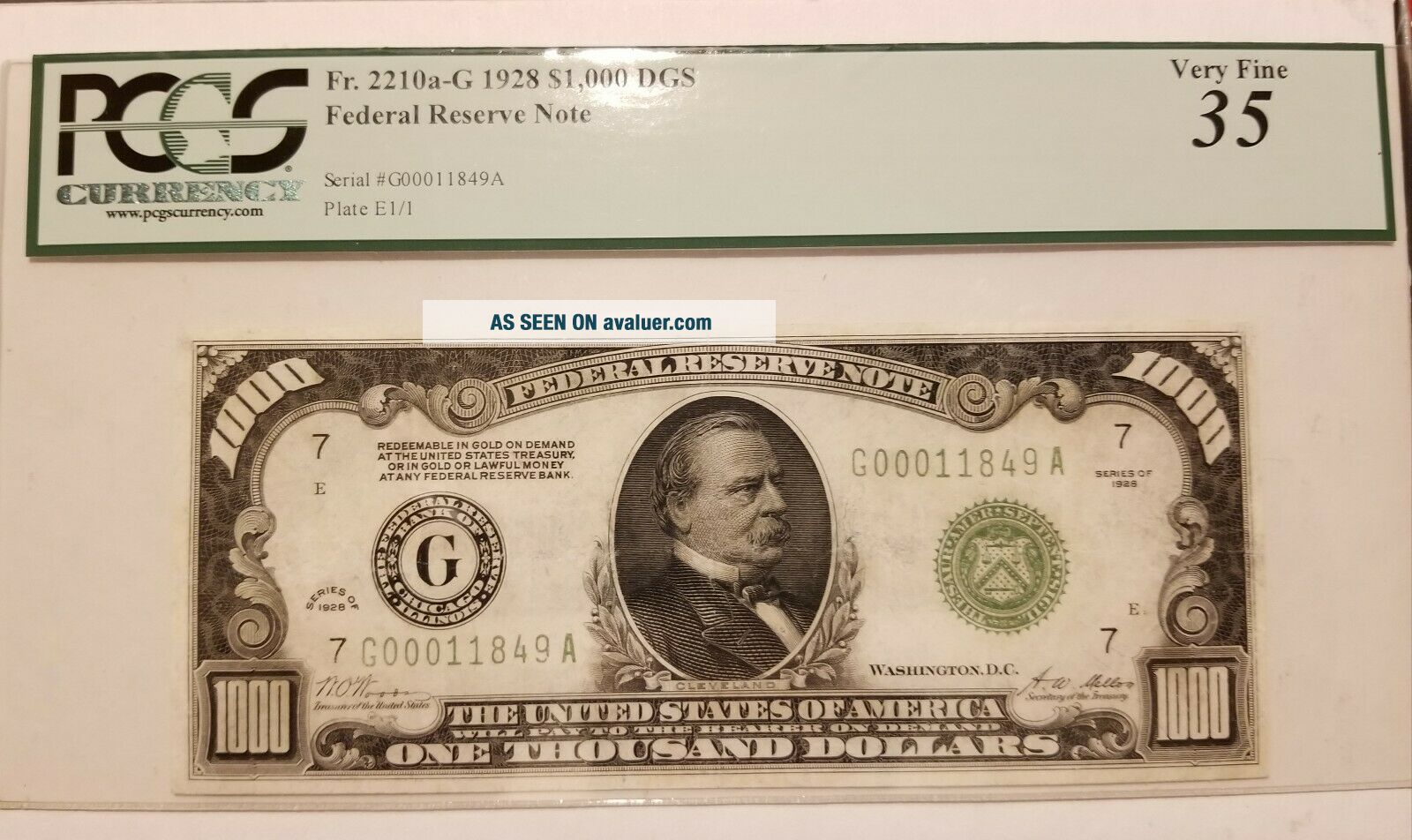 1928 Thousand Dollar Note US,  PCGS,  PPQ35