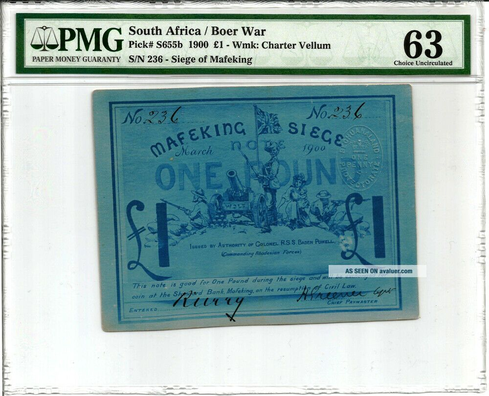 South Africa: Boer War Mafeking Siege 1 Pound P S655b PMG 63