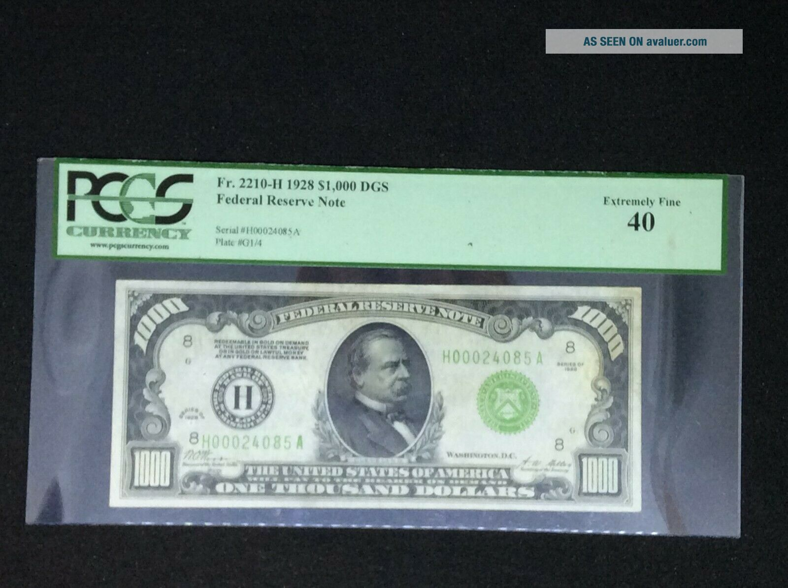 1928 $1,  000 dollars Federal Reserve Note PCGS 40 Extremely Fine