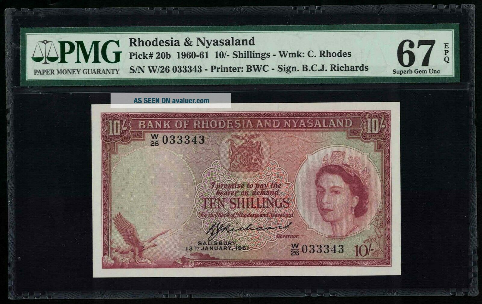P - 20b Rhodesia & Nyasaland 10 Shillings 1961 Gem UNC PMG67EPQ Known best