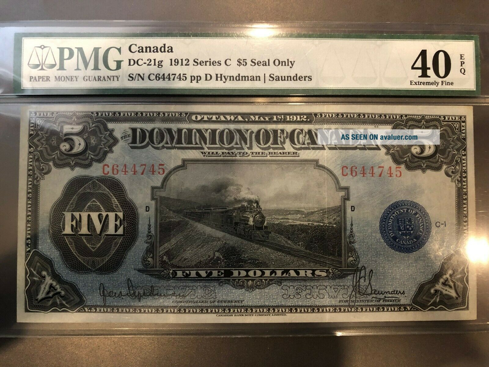 Dominion of Canada 1912 $5 Train Note,  PMG EF 40 EPQ,  DC - 21g Seal only