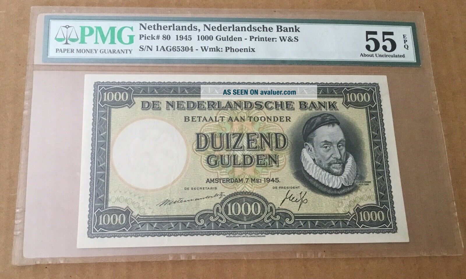 Netherlands 1000 Gulden 1945.  PMG 55 EPQ.  The Best know