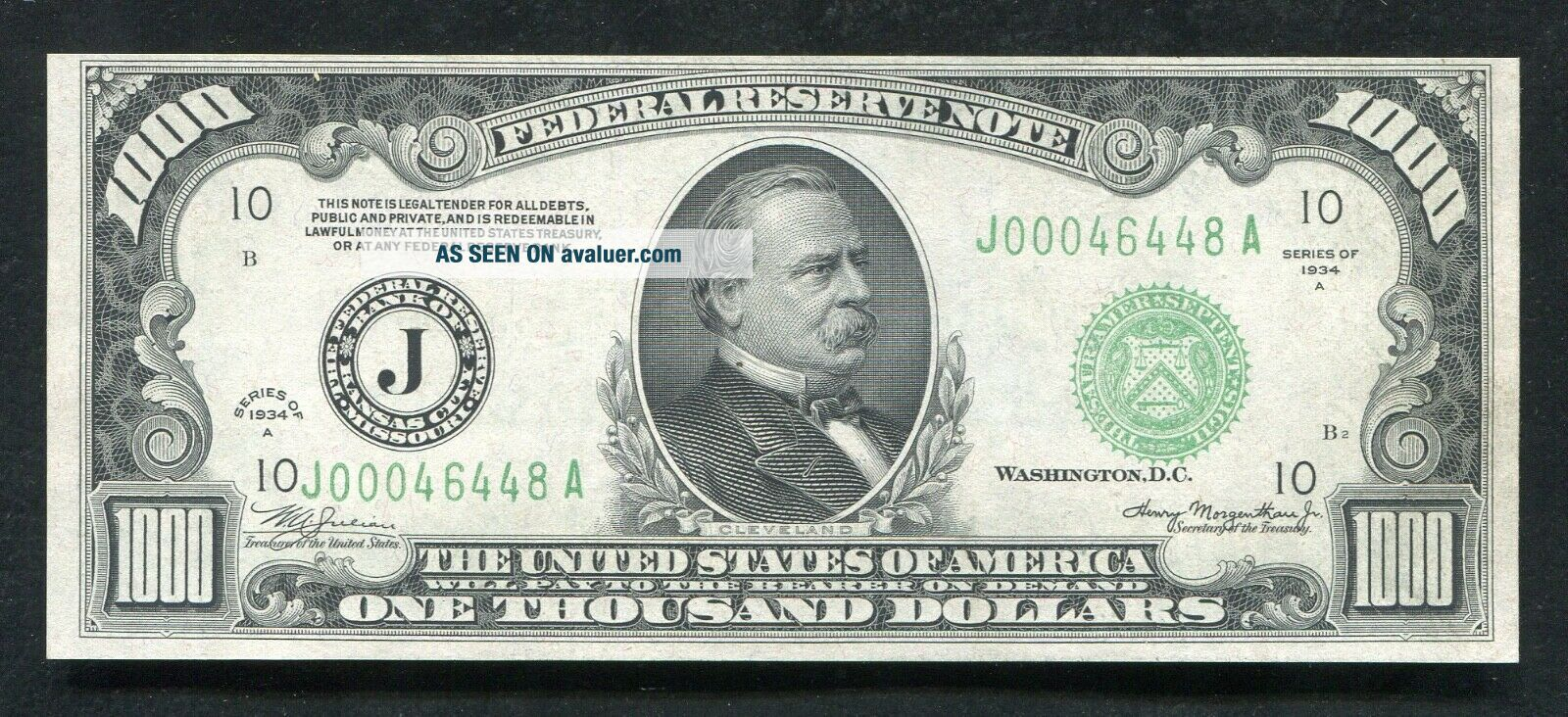 FR.  2212 - J 1934 - A $1,  000 ONE THOUSAND DOLLARS FRN KANSAS CITY,  MO UNCIRCULATED