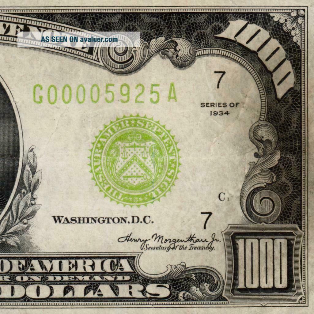 LGS 4 Digit Chicago ONE THOUSAND 1934 $1000 DOLLAR BILL 500 FR2211G