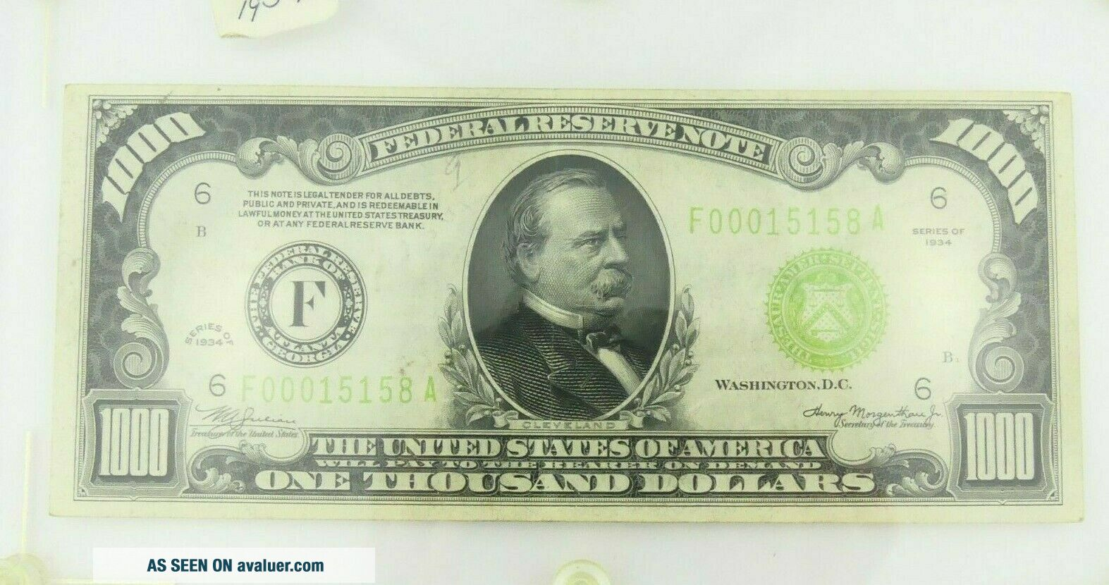 1934 F $1000 U.  S Bill Federal Reserve Note Low Serial Number Cond.