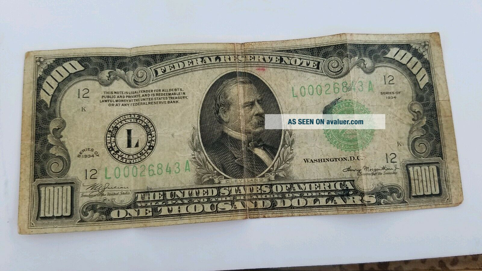 1000 ONE THOUSAND DOLLAR BILL OLD NOTE