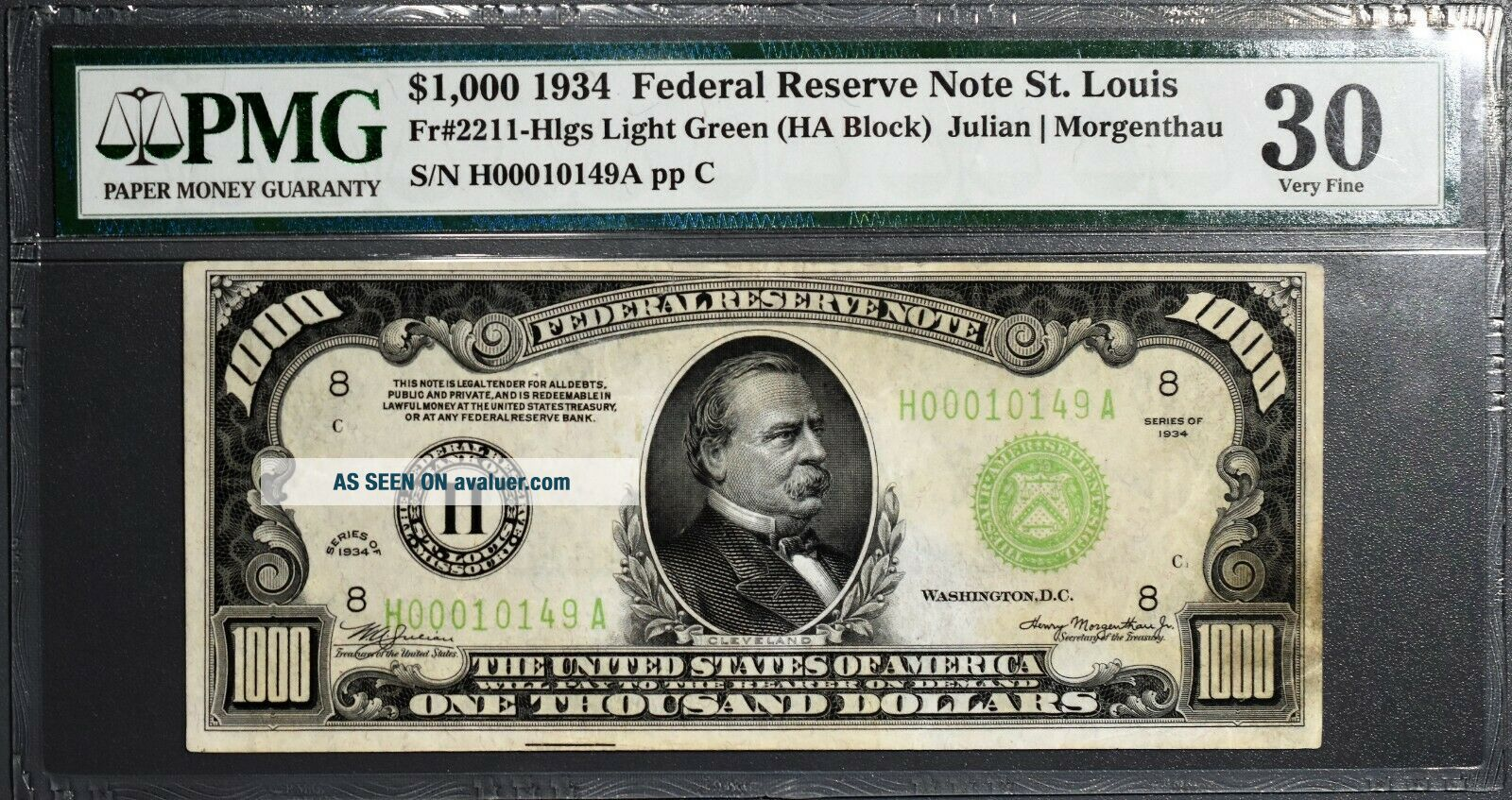 1934 $1000 FEDERAL RESERVE NOTE St.  Louis Fr 2211 - H PMG 30 Very Fine A1232
