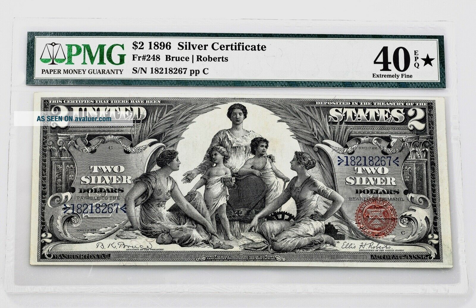 $2.  00 Silver Certificate 1896 Fr 228 PMG Certified Extremely Fine 40 EPQ