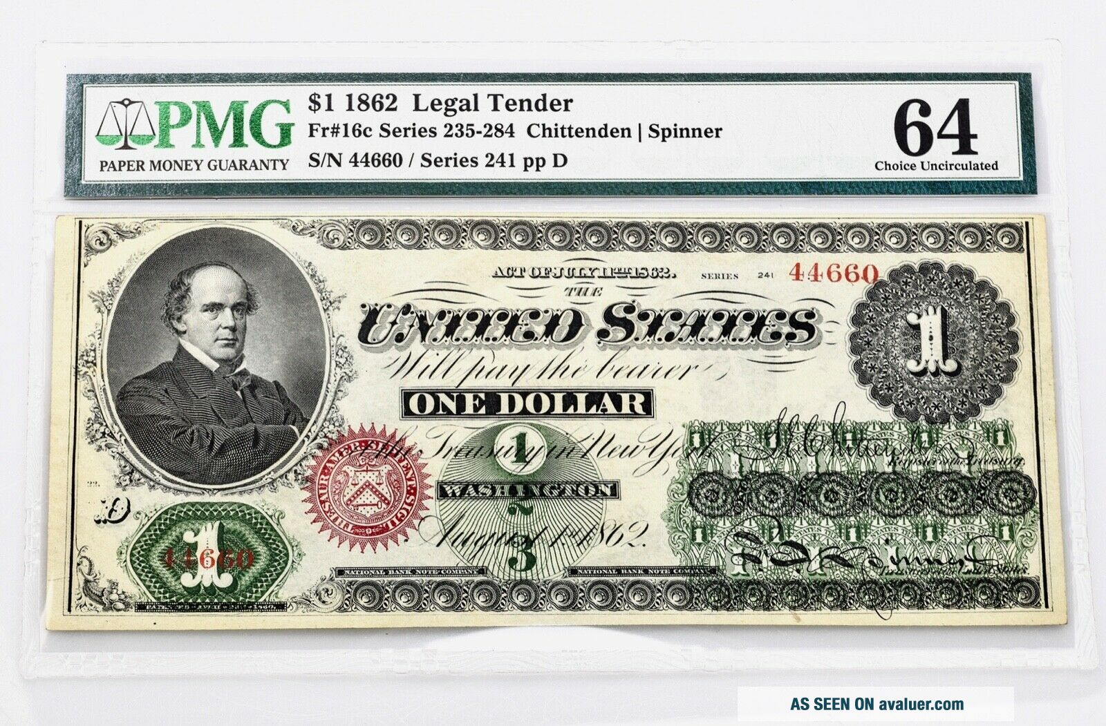 $1.  00 1862 Fr 16c Series 235 - 284 PMG Certified Choice Uncirculated 64