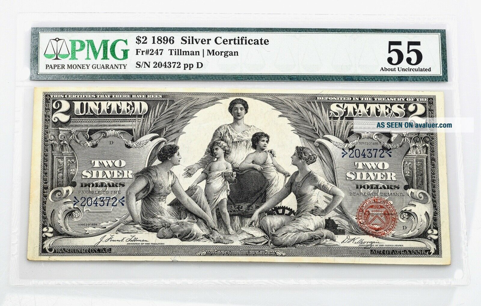 $2.  00 Silver Certificate 1896 Fr 247 PMG Certified About Uncirculated 55