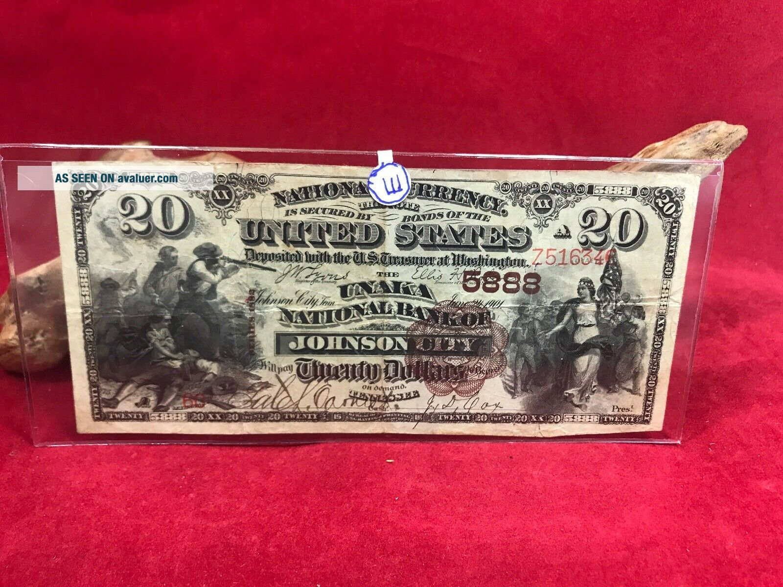 NATIONAL CURRENCY $20 SERIES 1882 THE UNAKA NATIONAL BANK OF JOHNSON CITY (TN)