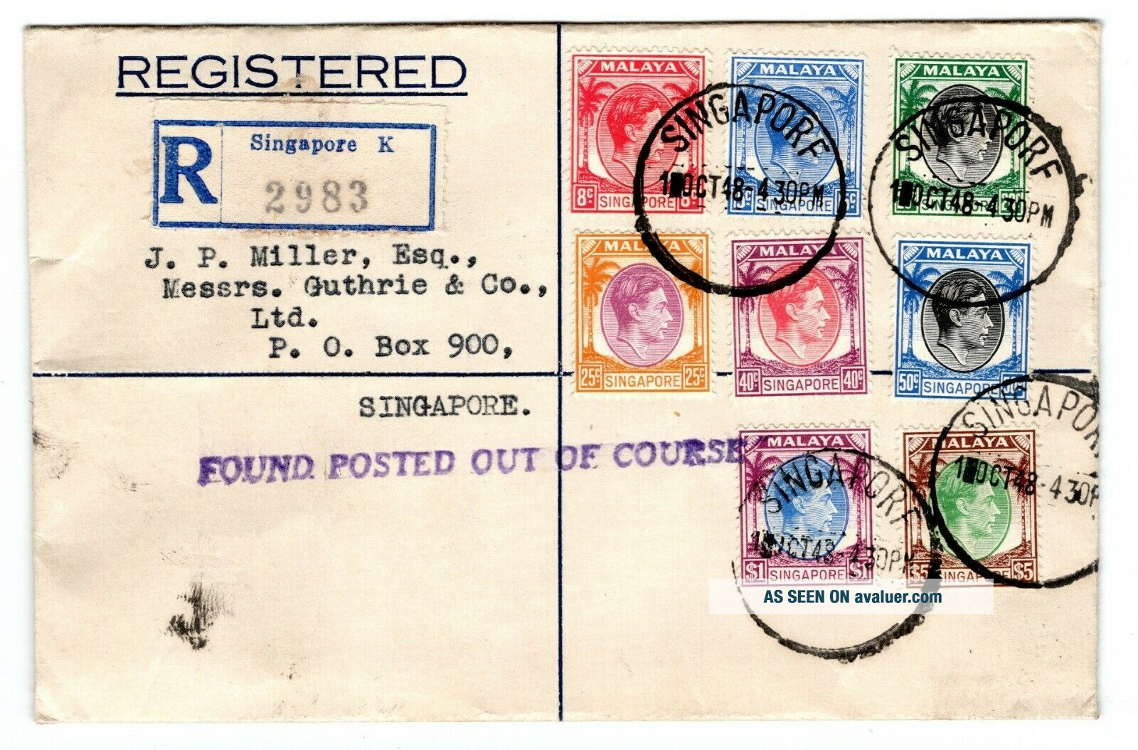 1948 Singapore Local Registered First Day Cover.