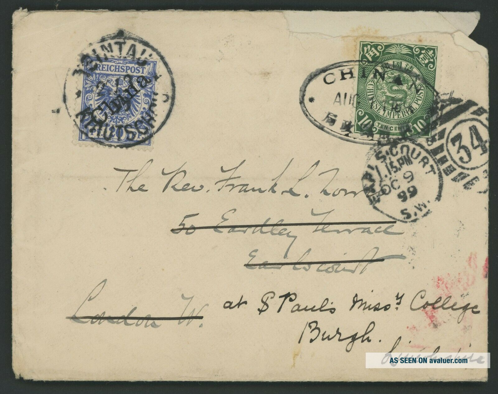 1899 CHINA COVER MIXED FRANKING GERMAN CHINA TO ENGLAND,  CHINGCHOW,  WEIHSIEN