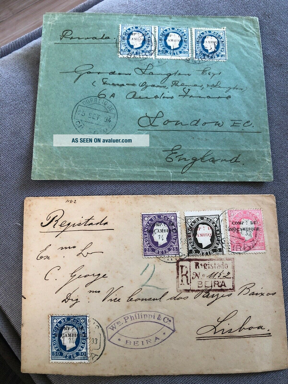 2 1884 & 1885 Portuguese Colonial Mozambique Postal Covers To Lisbon & London