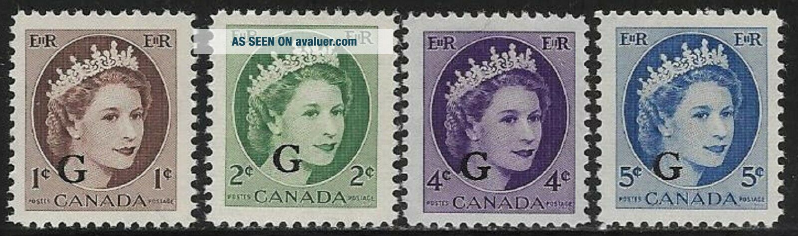 """Canada Overprinted """" G """" Official Stamp QEII MNH O340 - 44 ..."""