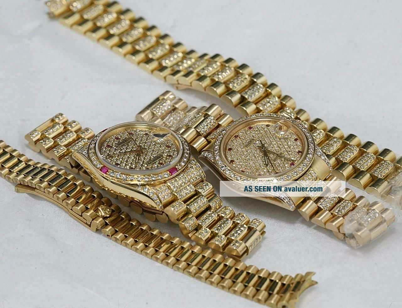 CUSTOM MADE After Market 18K Solid Gold Men ' s 31mm Datejust Quick Set Auto Watch
