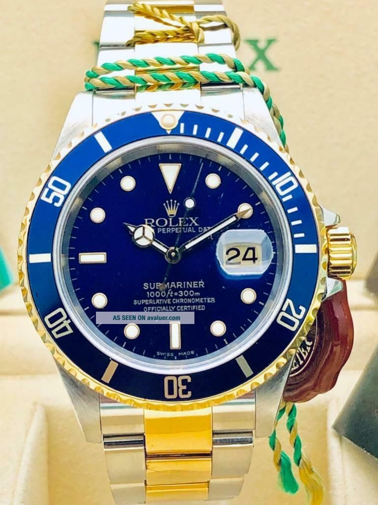 Estate Rolex Submariner 16613 Date SS 18k Gold BLUE Dial w/ Box,  Books MINTY