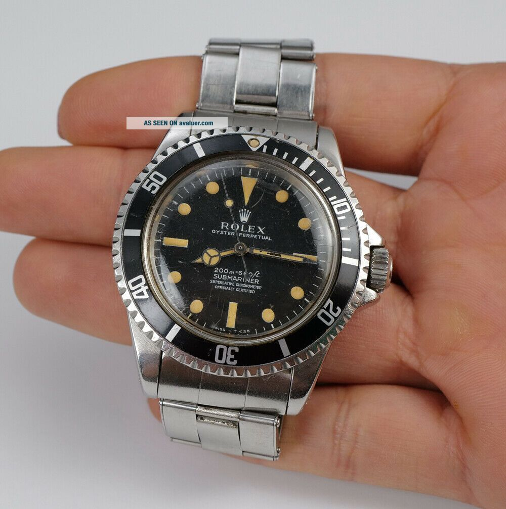 VINTAGE 1967 ROLEX SUBMARINER SUPERLATIVE CHRONOMETER 5512 MEN ' S WATCH.
