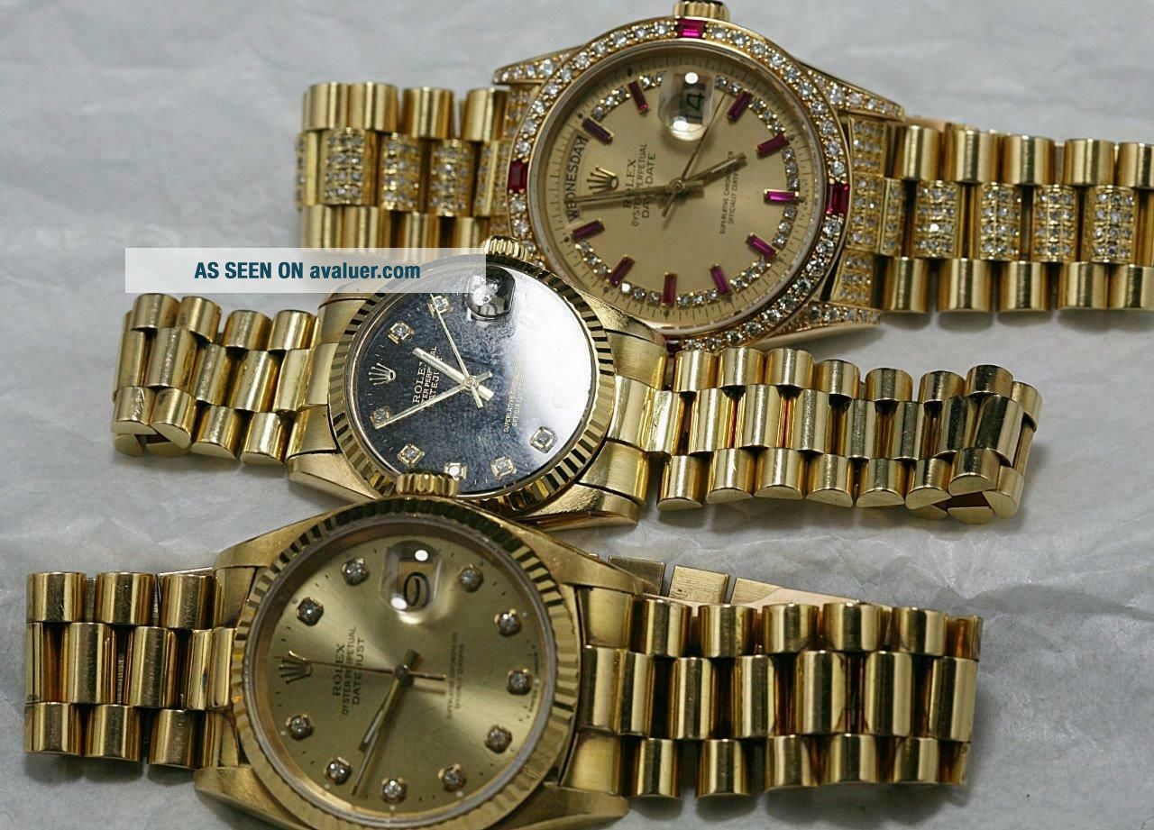CUSTOM MADE After Market 18K Solid Gold Men ' s 36mm Day - date Quick Set Auto