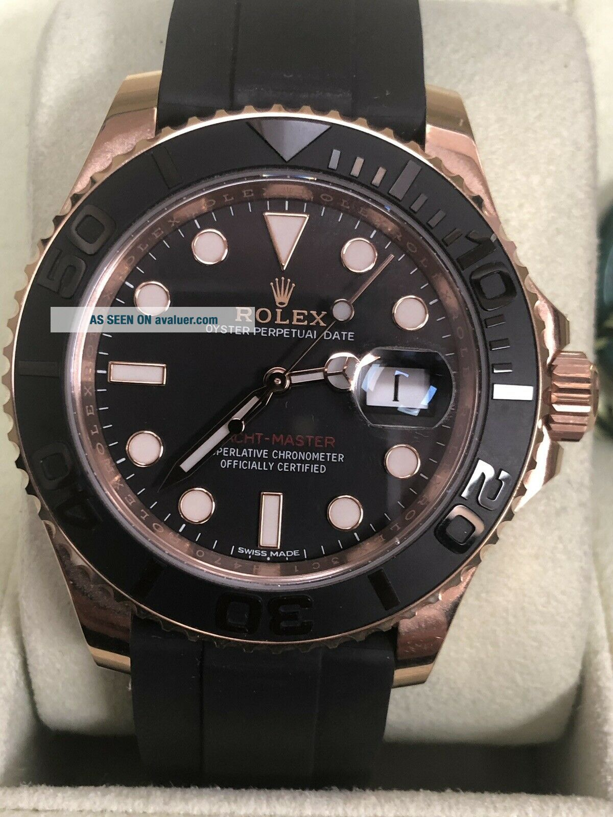 Rolex Yacht - Master Matte Black Dial Everose Gold Rubber Automatic Watch 116655