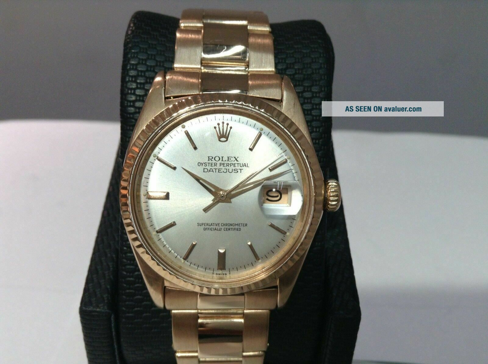 1969 ROLEX 1601 DATEJUST 18K R/Gold w/ Rivet Oyster Band Cal 1570,  PAPERS