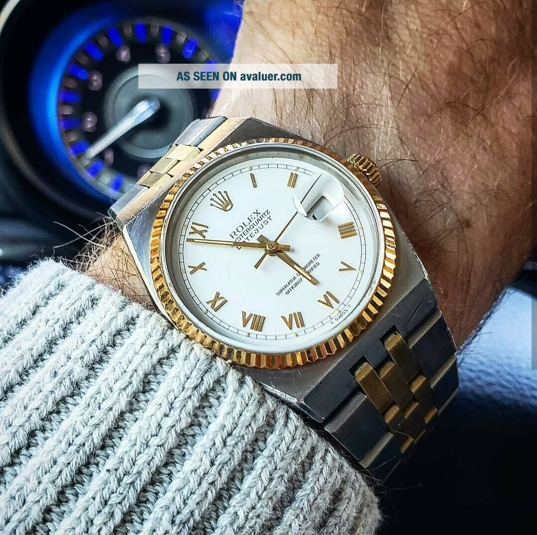 Vintage Men ' s 1976 Rolex Oysterquartz DateJust Two - Tone,  Unpolished,  Box & Books