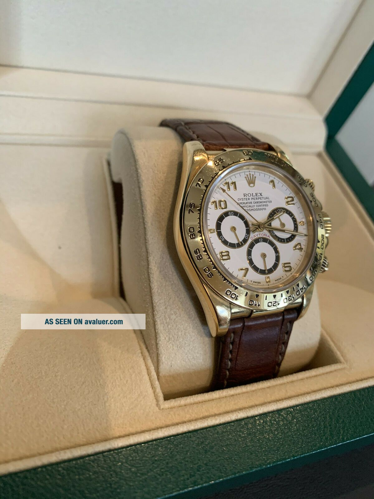 Rolex Daytona 18k Yellow Gold White Dial Chronograph Watch with Zenith Mo 16518