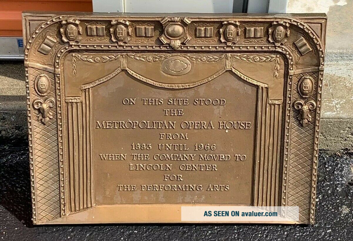 Rare Metropolitan Opera House Bronze Sign Plaque NYC Old Theater