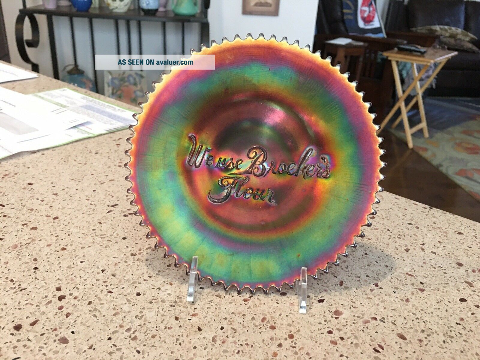 Very Rare Northwood Carnival Glass Advertising Plate - We Use Broeker's Flour