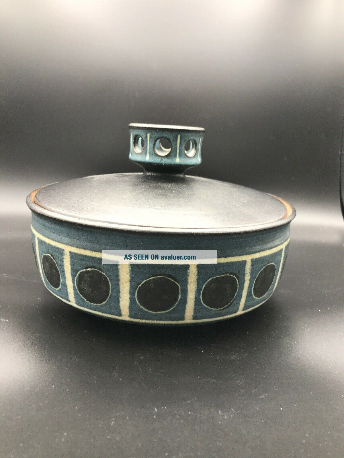 """Rare Harrison McIntosh Ceramic Bowl/ Vessel With Lid Modern Pottery Stamped 7"""""""