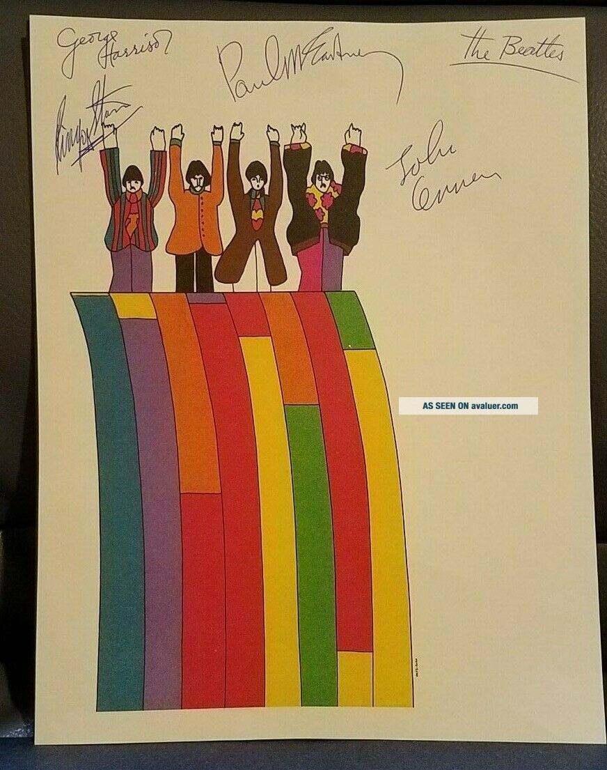 THE BEATLES Band Members Signed Autographed Yellow Submarine Letterhead