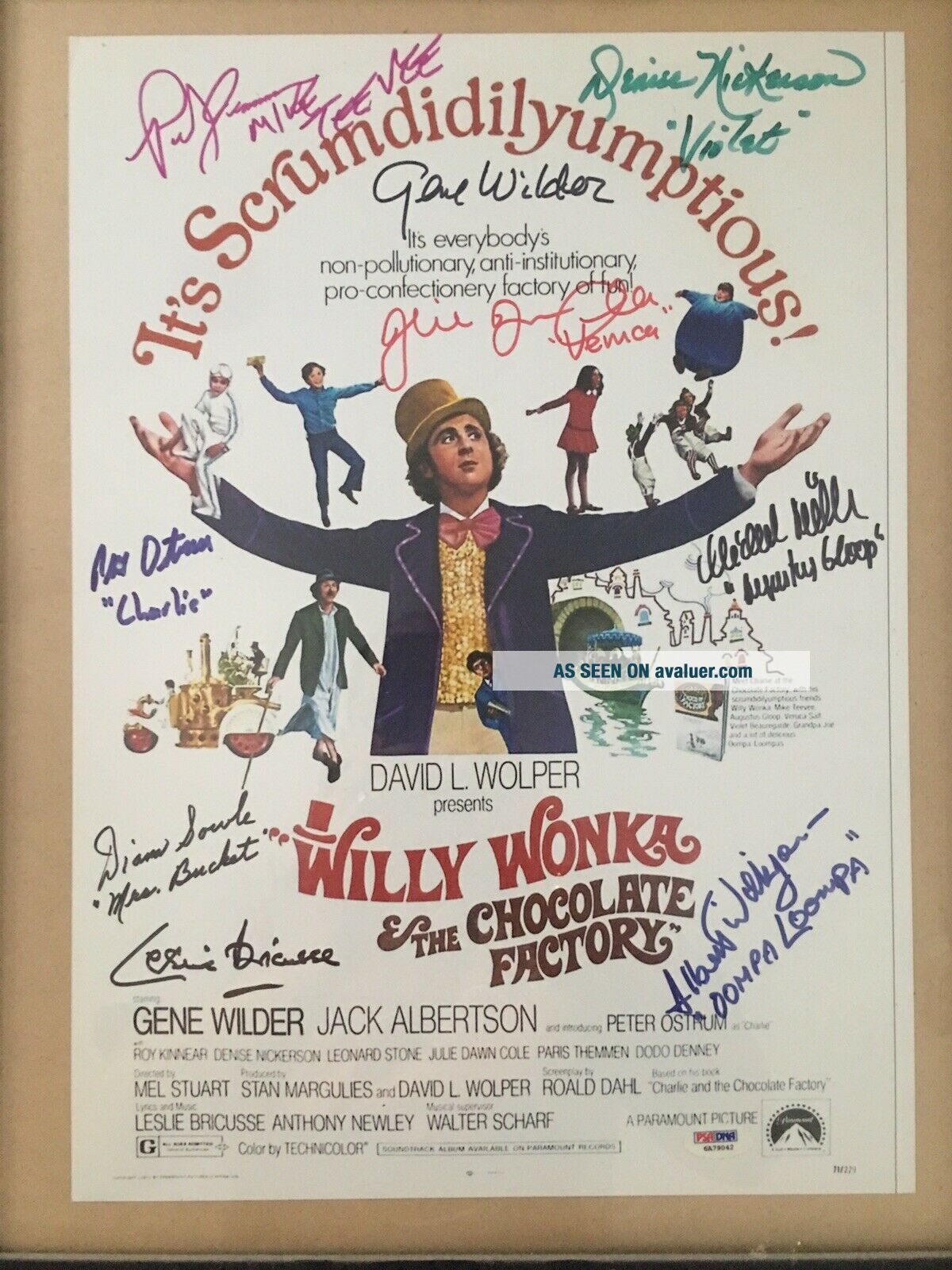 Willy Wonka 9 Signatures Cast Signed Very Rare Gene Wilder PSA DNA