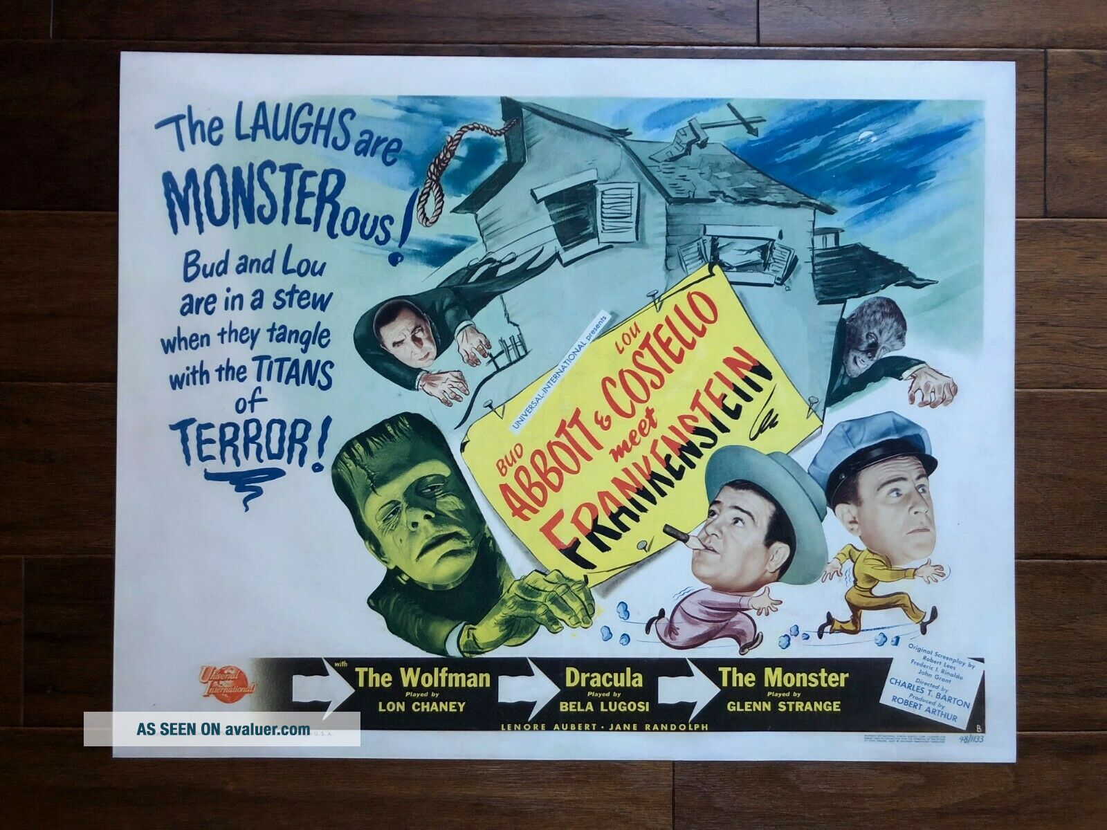 Abbott And Costello Meet Frankenstein (Universal 1948) Half Sheet (22x28) NM,