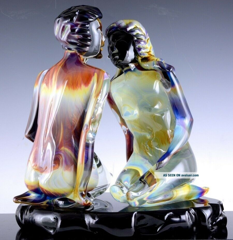 INCREDIBLE VERY LARGE DINO ROSIN CALCEDONIA MURANO YOUNG LOVERS GLASS SCULPTURE