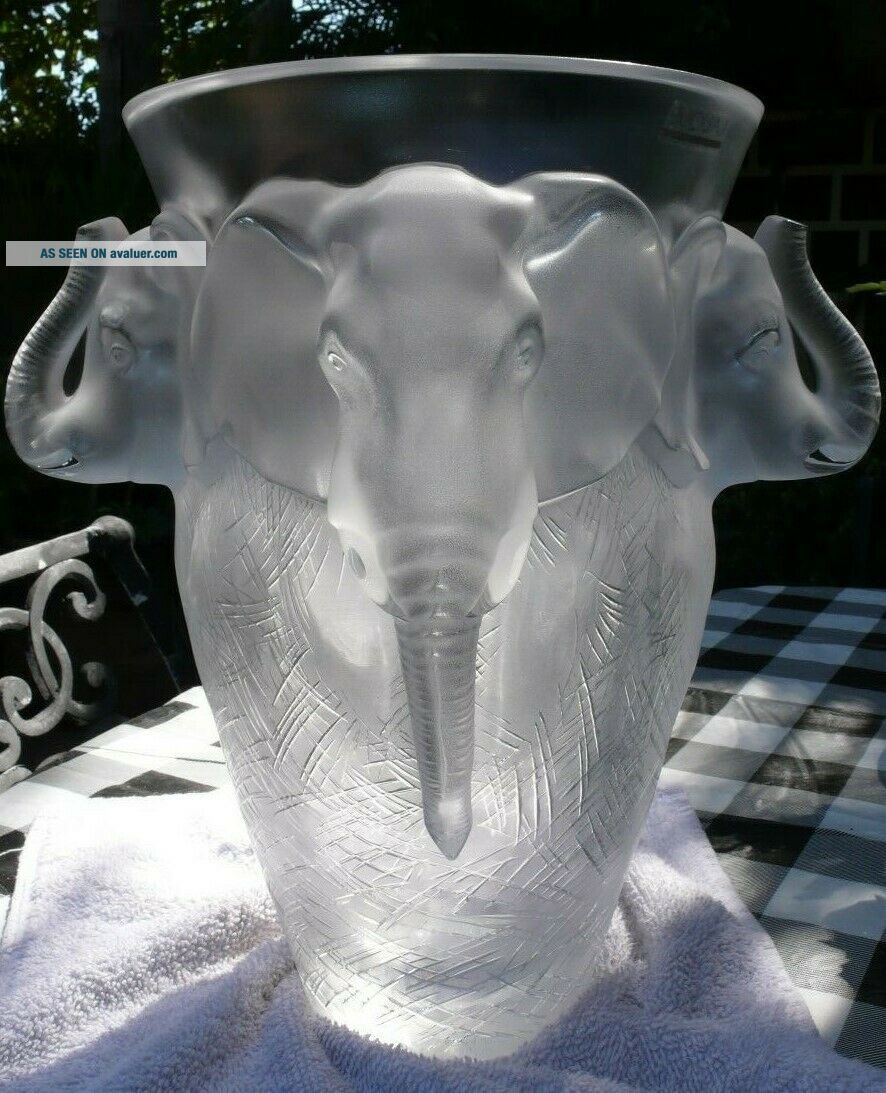 VERY rare and HUGE Lalique Vase,  Elephant Design,