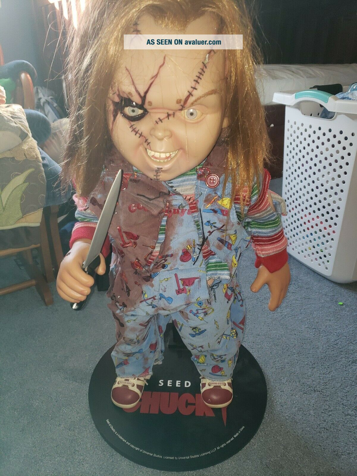 Seed of chucky Doll Childs Play Doll life size Sideshow 1:1 With Knife And Base