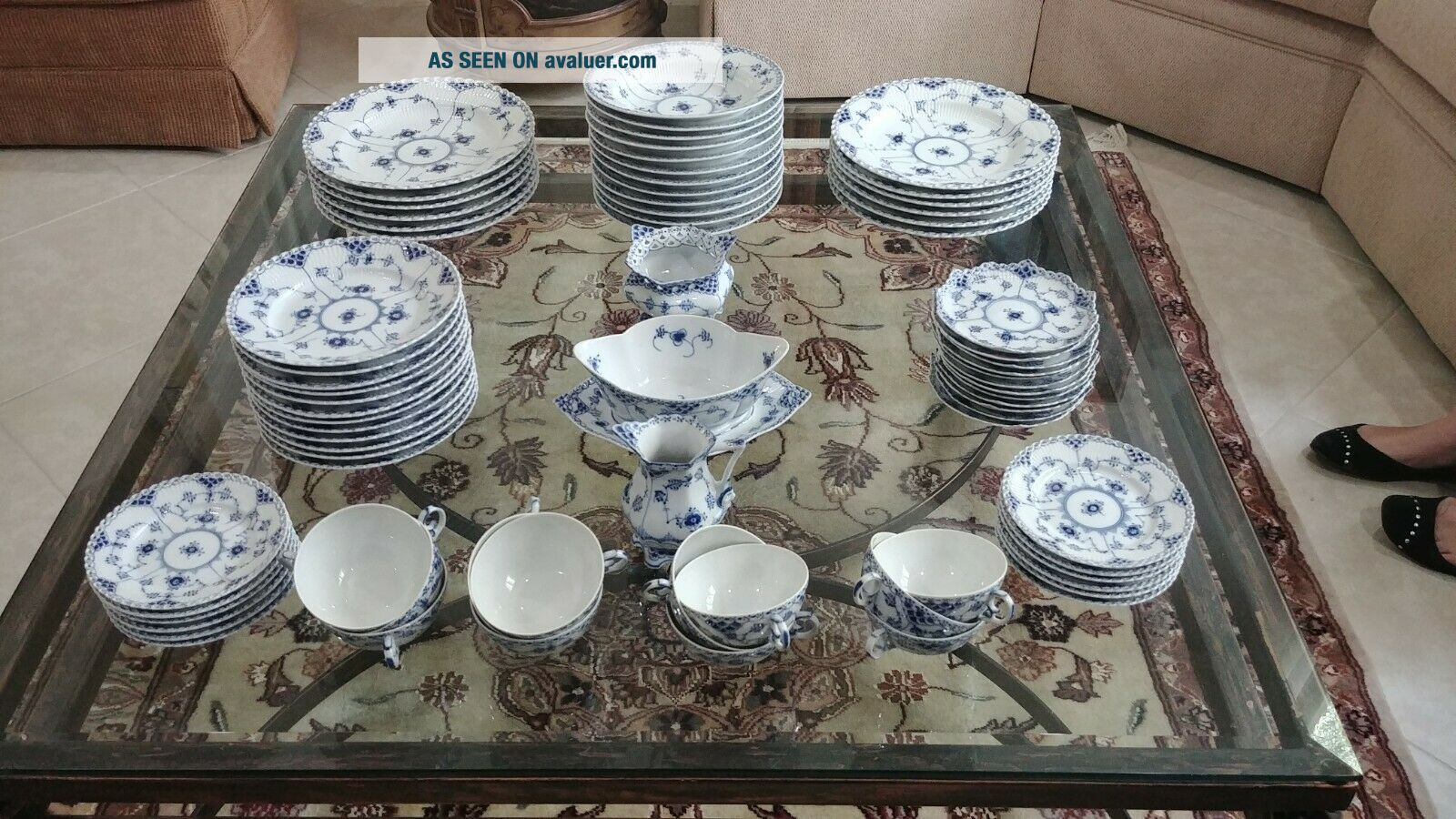 Royal Copenhagen Blue Fluted Full Lace Fine China Set Setting for 12