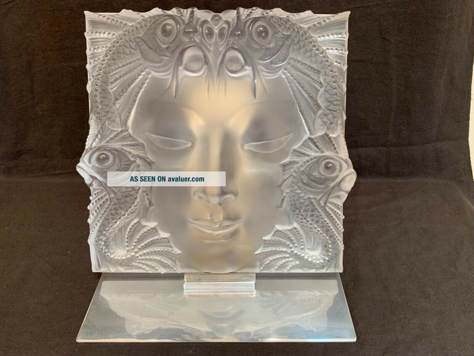 """Lalique Masque De Femme frosted crystal sculpture 12.  75"""" sq stand PERFT"""