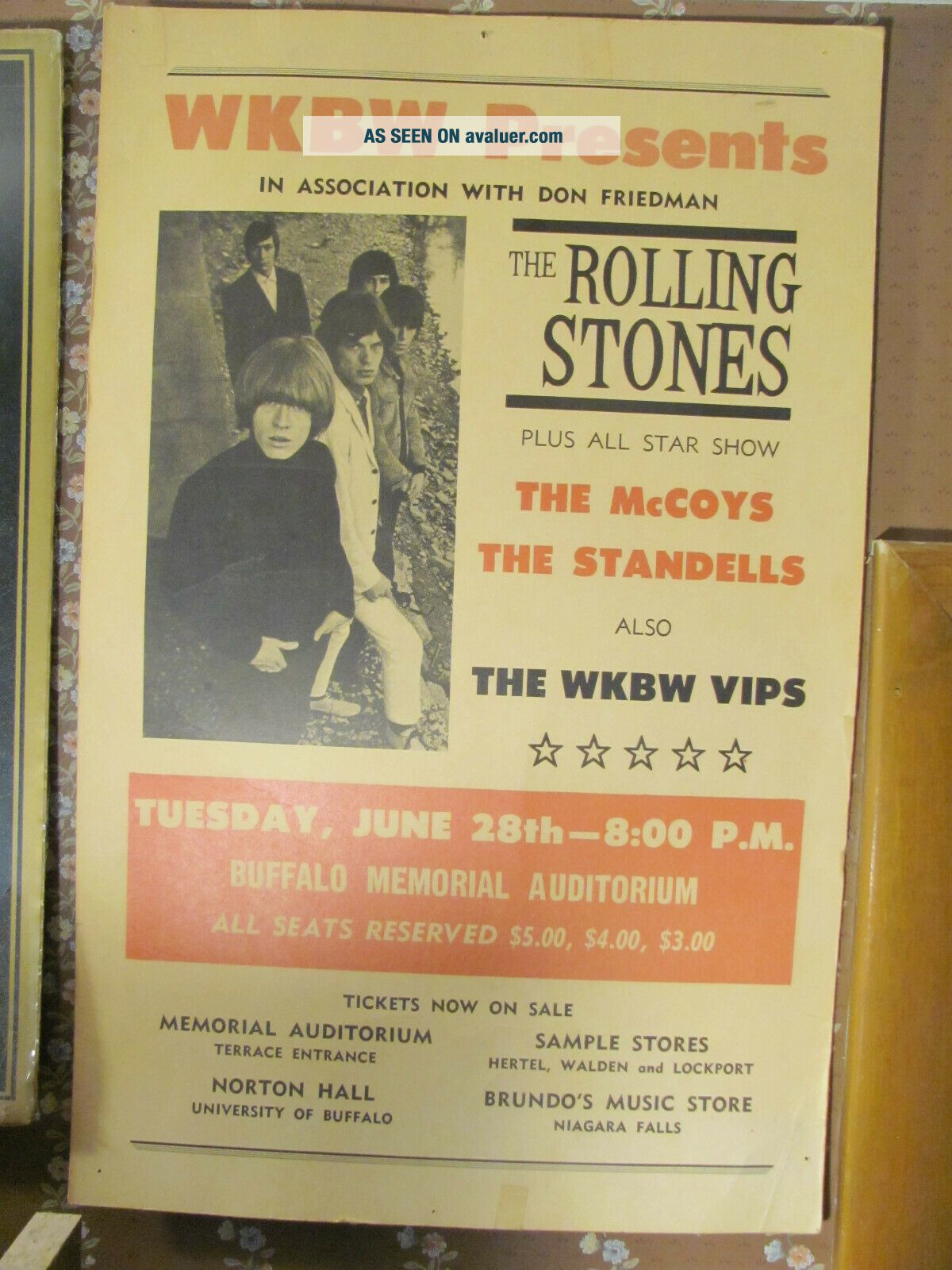 Rolling Stones 1966 Concert Poster Buffalo NY 14x22 VERY RARE