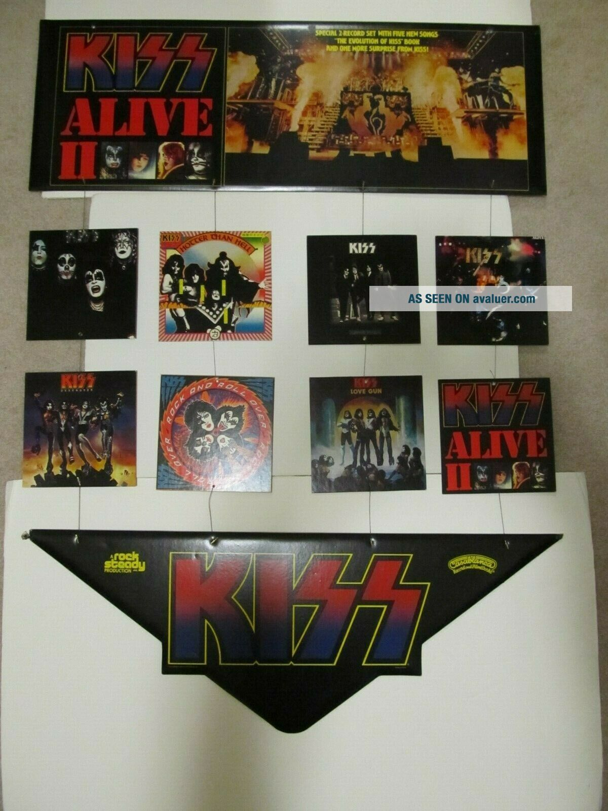 Extremely Rare KISS 1977 Alive 2 Hanging Mobile.  Aucoin.  Promotional Display