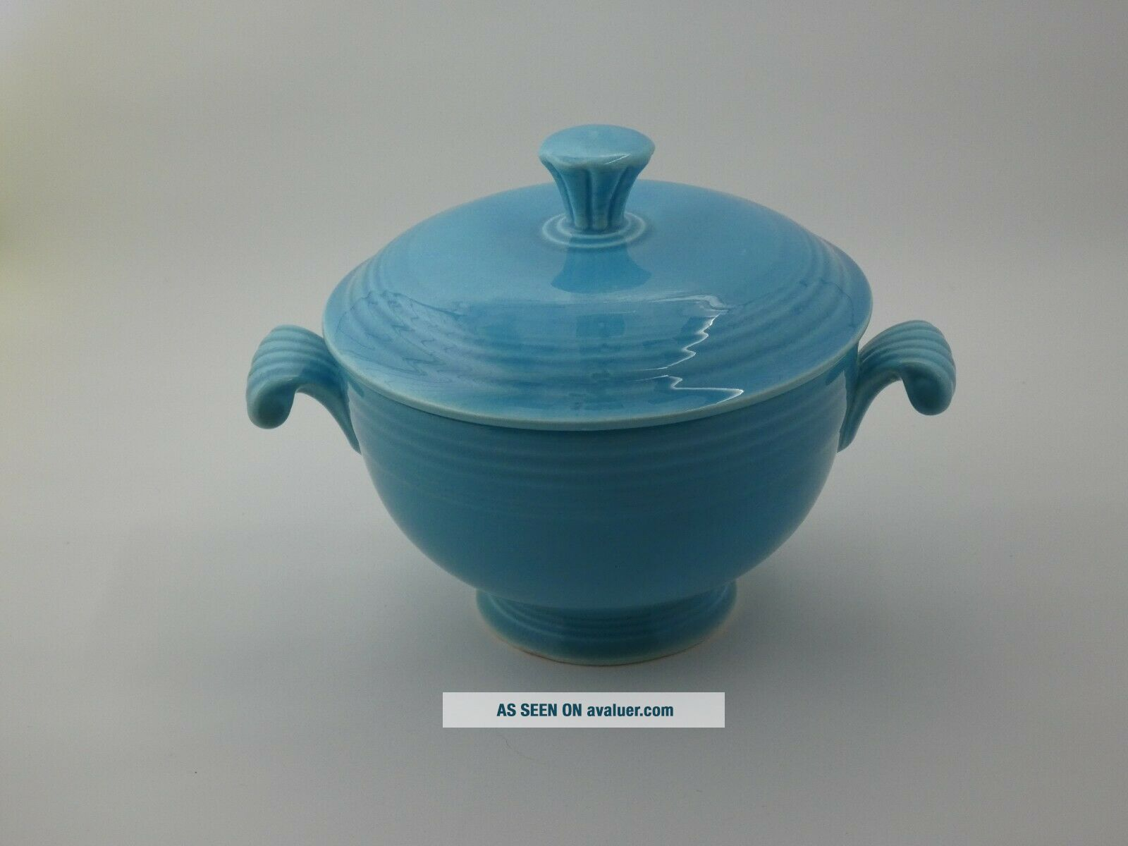 Fiesta Turquoise Covered Onion Soup Bowl.  VERY RARE