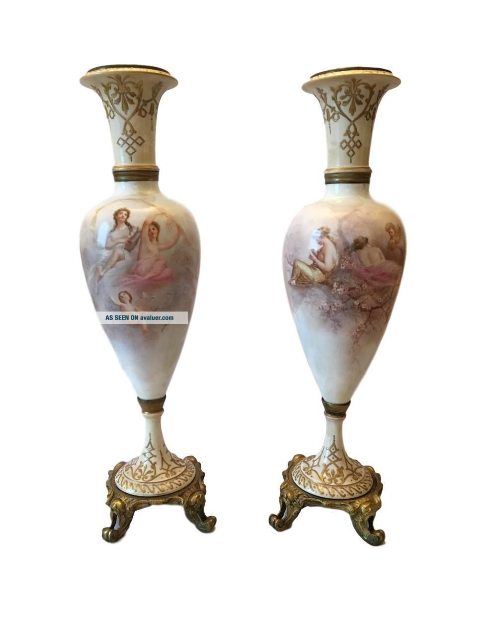 Monumental Antique Sevres Hand Painted Porcelain Gilt Bronze Vase