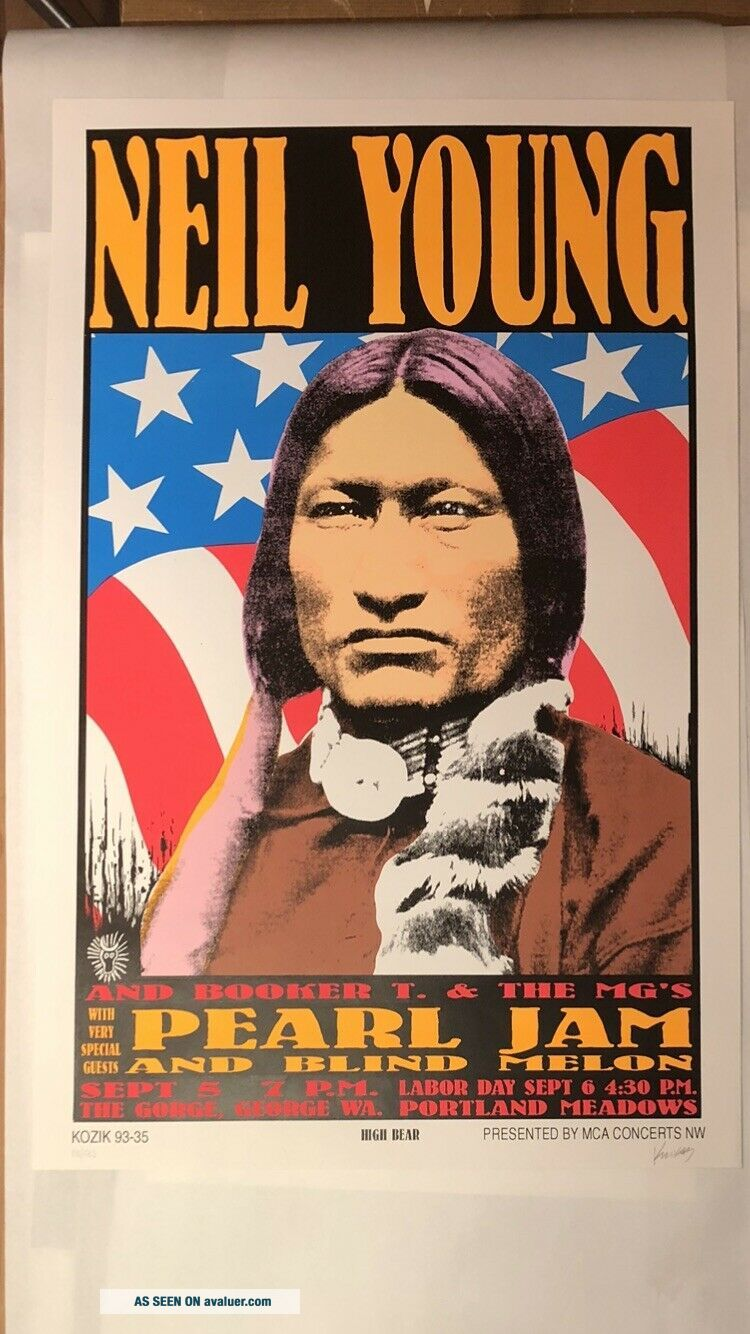 Frank Kozik - 1993 - Pearl Jam Neil Young Concert Poster S/N 1st Printing