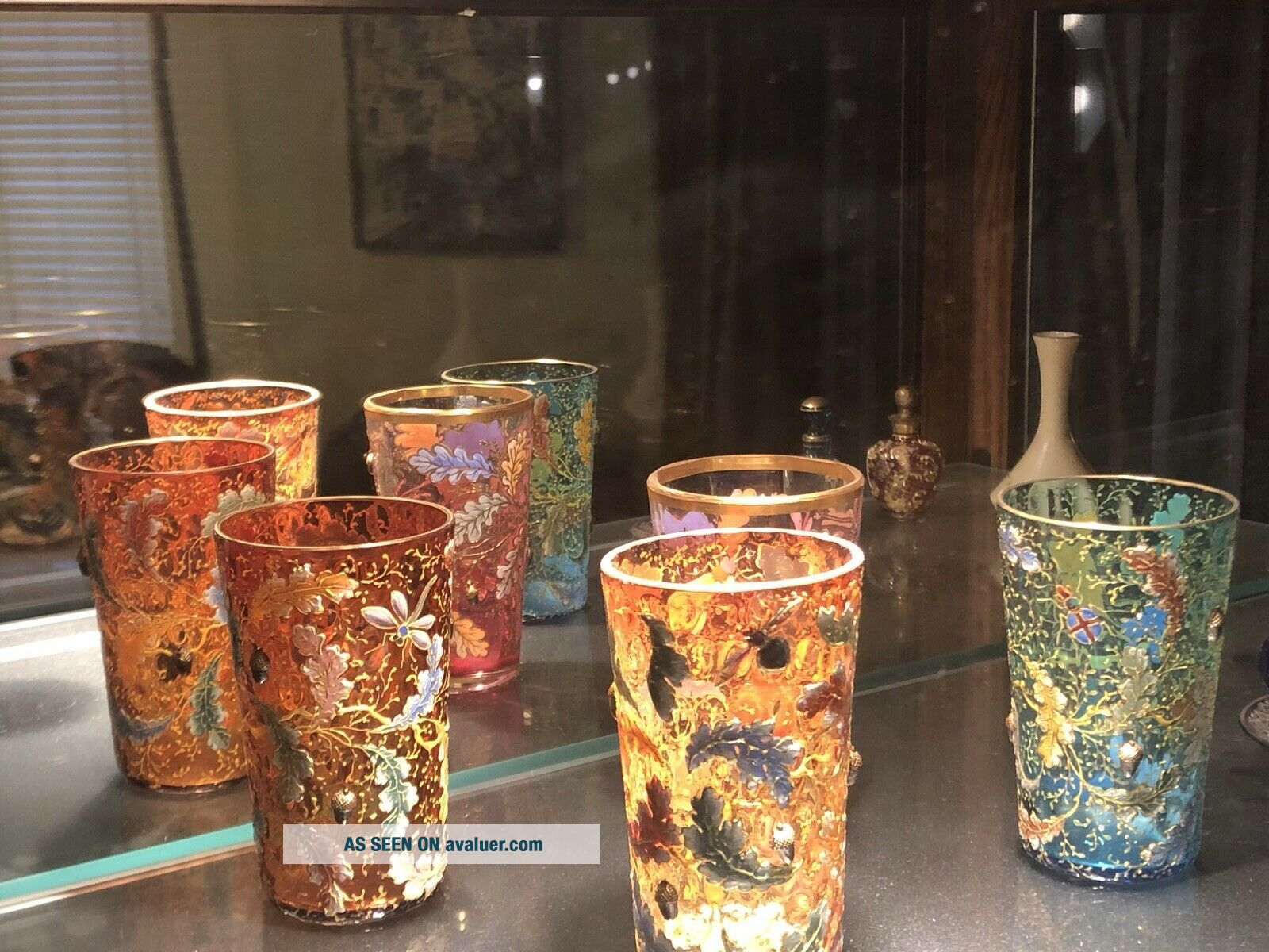 RARE Antique Multicolored Moser Gold Enameled Acorn Tumblers Signed