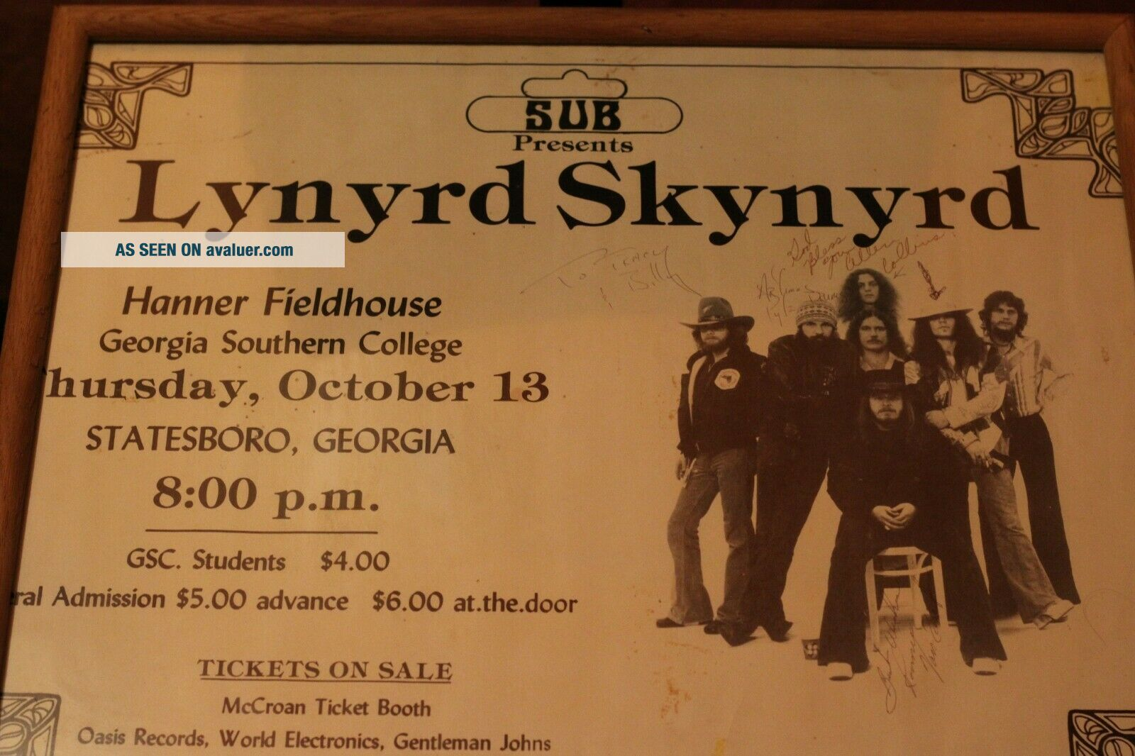 One Of A Kind Lynyrd Skynyrd Poster Signed At Last Concert One Week Before Death