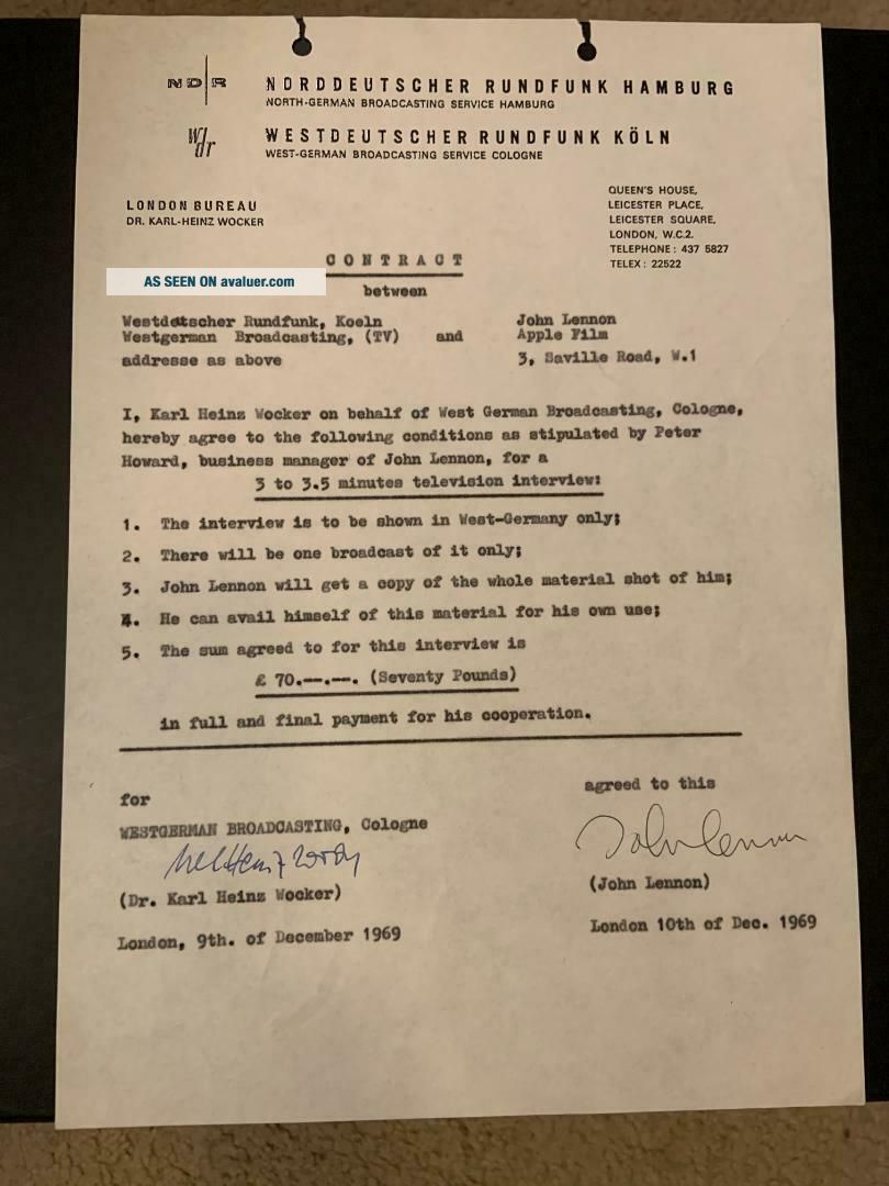 Beatles INCREDIBLE 1969 JOHN LENNON SIGNED CONTRACT CAIAZZO & TRACKS COAs